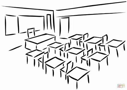 Coloring Classroom Pages Outline Printable Drawing Paper