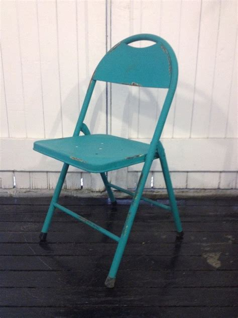 vintage metal folding chair teal sourceress the store