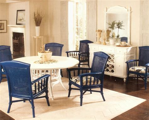 remarkable set of four wicker rattan dining room chairs