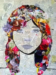 mixed media art = torn newspaper bknd, draw portrait on ...