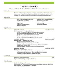 Auto Mechanic Resume by 10 Best Car Mechanic Resume Sles Images In 2018 Free