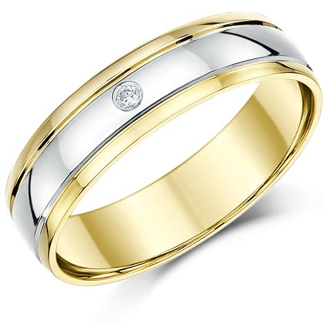two colour gold wedding ring 5mm 9ct two colour gold diamond wedding ring band two colour at elma uk jewellery