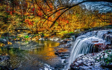 beautiful cascading waterfall fall river forest tree