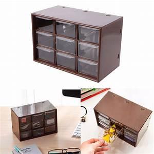 New, 9, Drawer, Plastic, Storage, Cabinet, Desktop, Makeup, Bin, Box, Jewellery, Organizer, Home, Storage