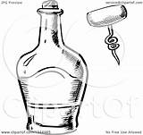 Whisky Template Bottle Clipart Vector Corkscrew Coloring sketch template
