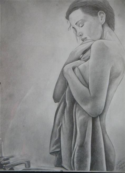 femme dans la salle de bain dessins par dessine sur alittlemarket