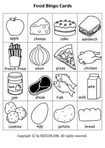 food bingo cards black  copy worksheet