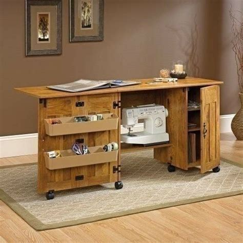 craft cabinet with drop table large sewing machine craft table folding drop leaf