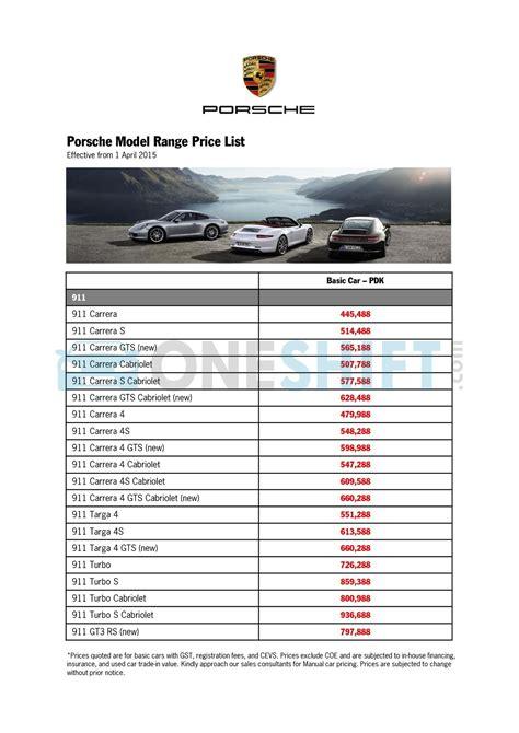 Cars List by Porsche Singapore Printed Car Price List Oneshift