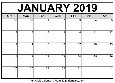 Printable January 2019 Calendar Templates