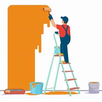 Painter Painting Wall Vector Clip Illustrations Illustration