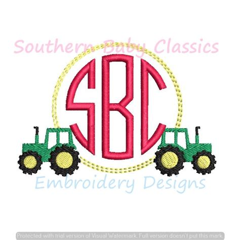tractor monogram circle frame machine embroidery design fall boy farm southern baby classics