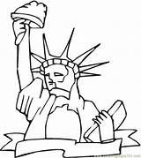 Coloring Monument Liberty Structures Coloringpages101 sketch template