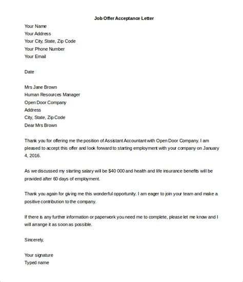 acceptance letter template   word  documents