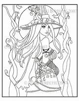 Coloring Pages Fantasy Witch Wiccan Adult Pagan Colouring Drawing Halloween Printable Cassia Witches Dark Fairy Steampunk Aceo Kit Gothic Getdrawings sketch template