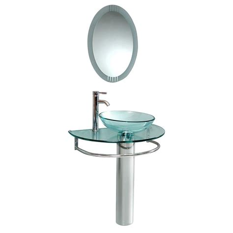 fresca attrazione vessel sink in frosted glass with stand