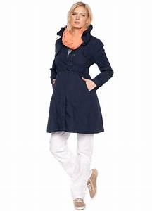 Navy Blue Maternity Parka Trench Coat By Esprit