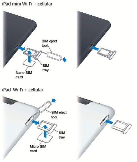 insert sim card  ipad mini pi  sim card