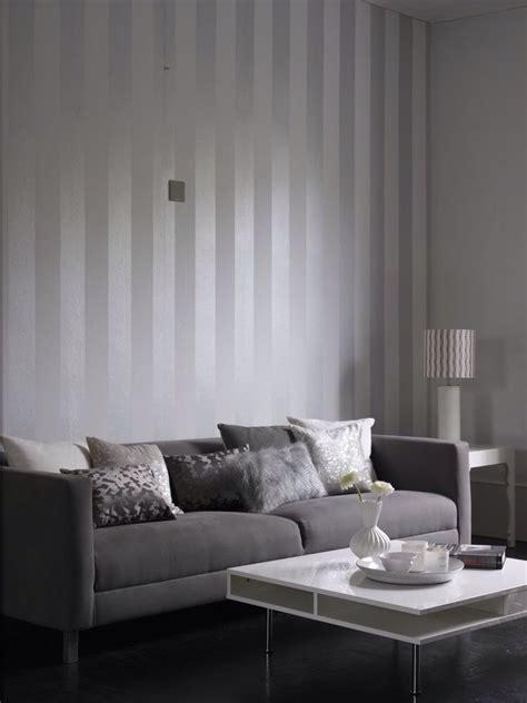metallic grey  white stripe wallpaper design