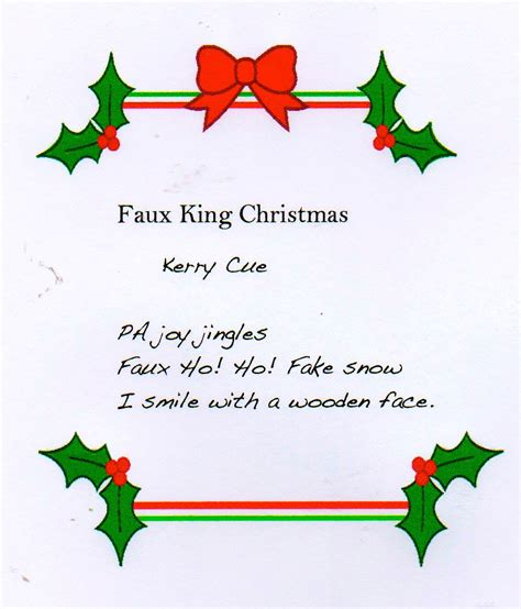 faux king christmas haiku kerrycue