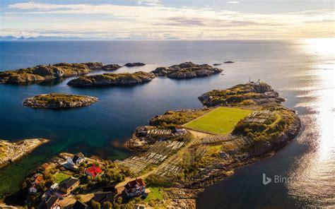norwegian islands football stadium landscape  bing