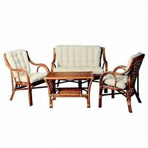 Salon En Rotin : salon en rotin 4 pieces table canape 2 fauteuils a prix promo ~ Teatrodelosmanantiales.com Idées de Décoration