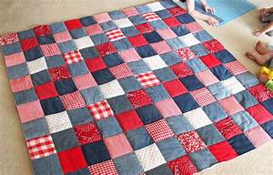 diy picnic quilt from old jeans cutesy crafts With how to make a quilt template