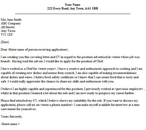 Cover Letter For Chef Application by Chef Cover Letter Sle Lettercv