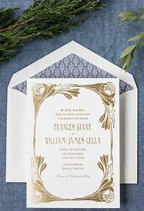 blue and gold foil art nouveau wedding invitation by hello ...