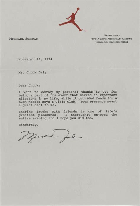 lot detail michael jordan signed personal letter