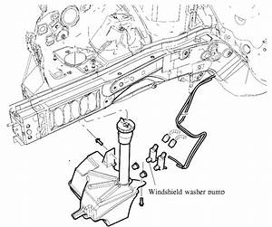 Where Is Location Of Front Wiper  Washer Pump On 2005 Ford