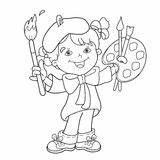 Coloring Outline Cartoon Artist Easel Paints Paint Vector Painting Vectors Dreamstime Cute Palette Illustrations Clipart Illustration Boy sketch template