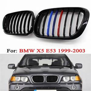 Gloss Black M Color Front Center Grille For Bmw 99 03 X5