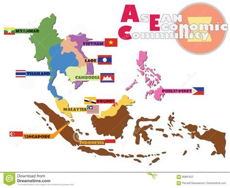 asean economic community aec map asean map aec stock vector illustration of geography asea