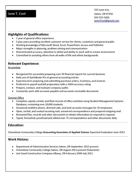accounting graduate resume no experience resume ideas