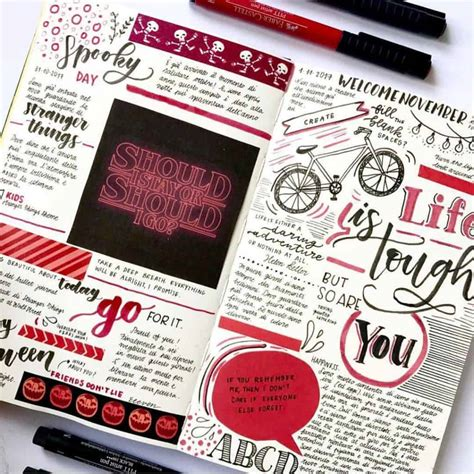 top  red bullet journal spreads   week