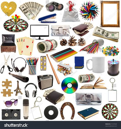 Collection Objects Isolated On White Background Stock