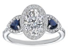 white sapphire engagement ring engagement ring oval halo engagement ring pear shape blue sapphire side stones in 14k