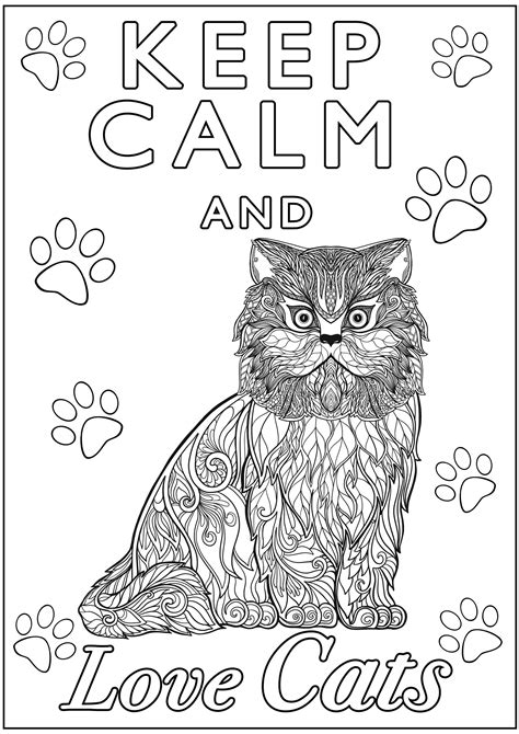 calm  love cats  calm adult coloring pages
