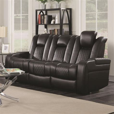 Loveseat Console by Delangelo Theater Power Leather Reclining Sofa With Cup