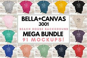 Bella Canvas Color Chart 3001 Bella Canvas 3001 Mockup T Shirt Bundle All Colors On Wood