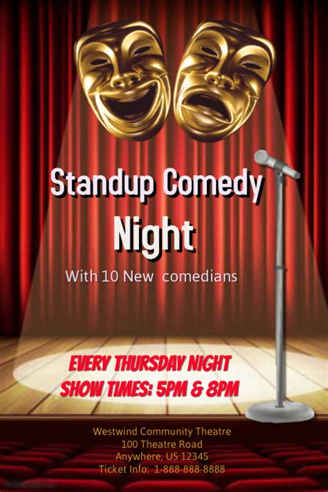Comedy Template Poster by Standup Comedy Night Template Postermywall