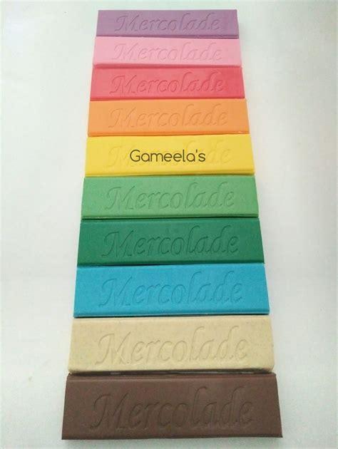 jual coklat aneka warna mercolade rainbow batangan  gr