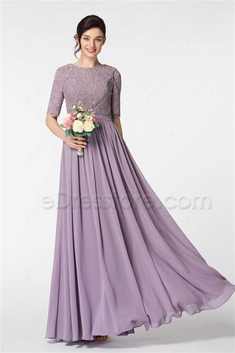 Wisteria Purple Modest Bridesmaid Dress With Elbow Sleeves