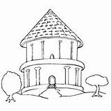 Coloring Pages Bungalow Drawing Round Houses Trees Printable Simple Stilt Easy Drawings sketch template