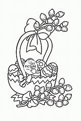 Coloring Easter Pages Egg Bunny Colouring Basket Printable Baskets Holidays Eggs Happy Holiday Printables Wuppsy Worksheets Kindergarten sketch template