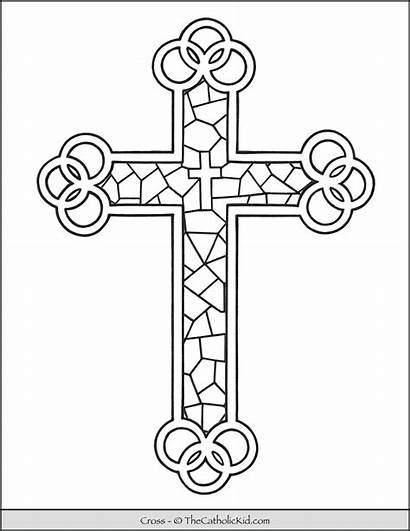 Cross Coloring Stained Glass Thecatholickid Church Catholic