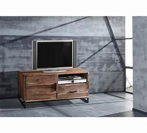 Petit Meuble Metal : petit meuble tv 118 cm m tal et bois urban m tal 7471 ~ Teatrodelosmanantiales.com Idées de Décoration