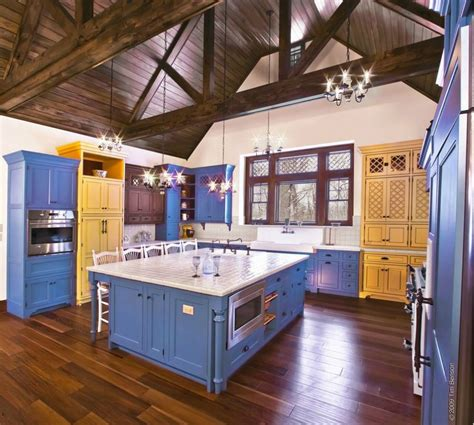 cabinets cabinetry kitchen custom blue yellow bright