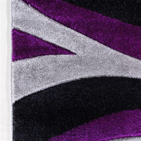 contemporary purple black wave hall runner rug rio